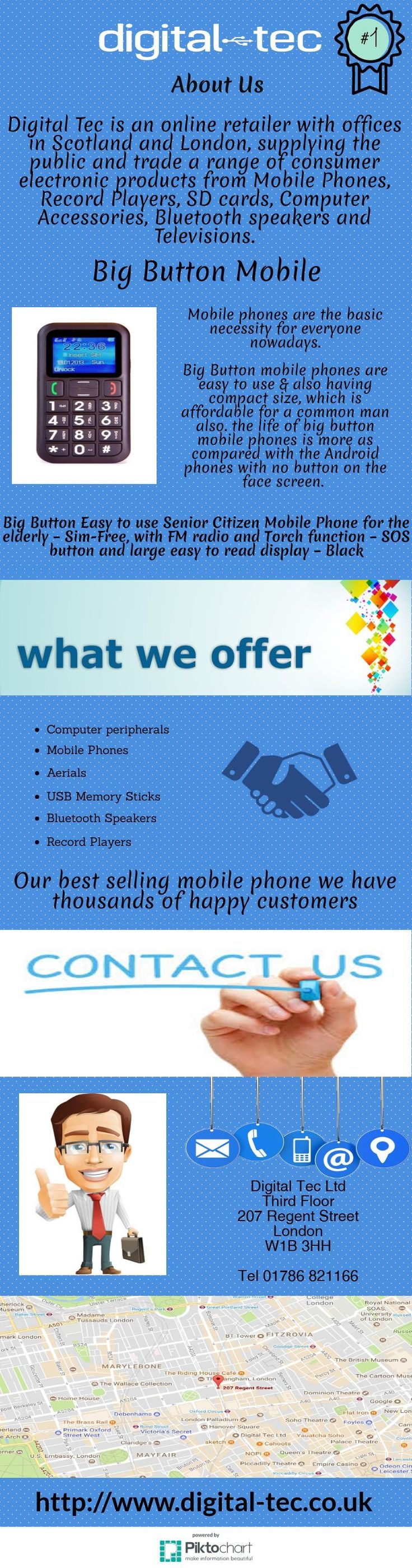 Looking for #Big #Button #Phone For Senior Citizen? then #Digital_Tec is an online retailer and offers wide range of consumer electronic products like #BigButtonMobile, Record Players, SD cards, Computer Accessories, Bluetooth speakers and Televisions.