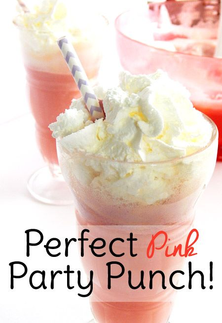 This pink party punch with sherbet is the perfect punch for baby showers or Valentine's day!