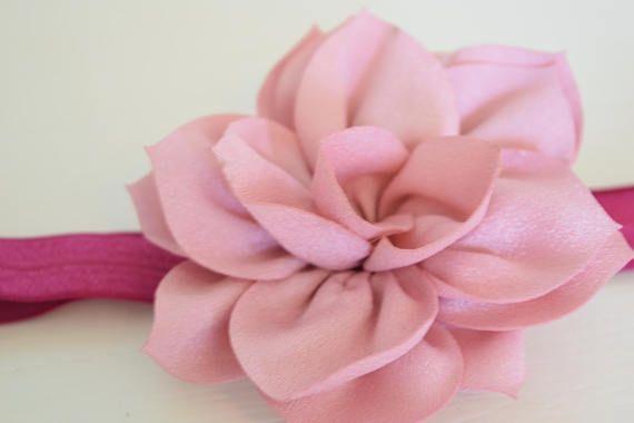 Mauve and dusty rose flower baby headband.