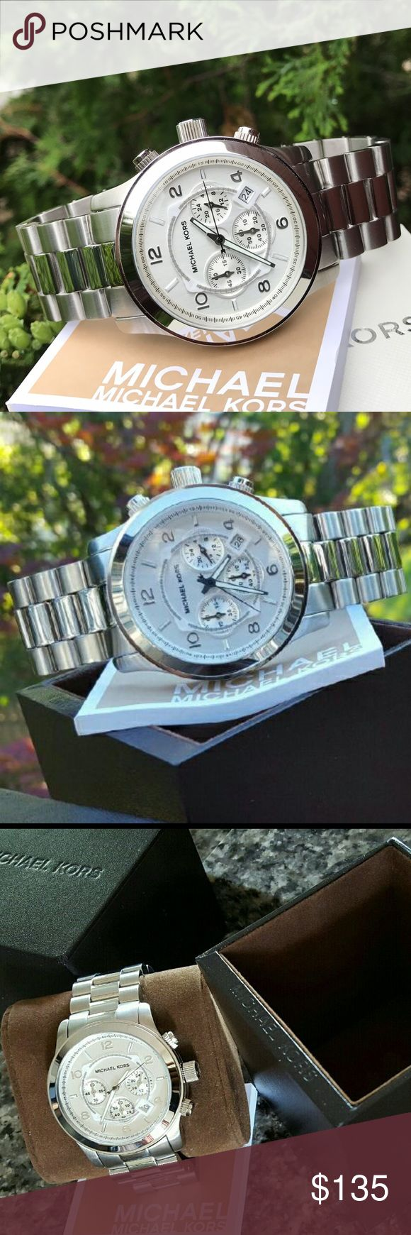 $275 Michael Kors 45mm MK Runway Watch MK8086 🔥 Selling out fast! 🔥 Guaranteed Authentic MK8086  💎 Model: Runway 💎 Retail: $275 Silver stainless steel  Michael Kors watch box and owners booklet included Chronograph  45mm case  10 ATM  UPC: 691464227159  No trades. Buy now or offer only. Shipped same business day Michael Kors Accessories Watches