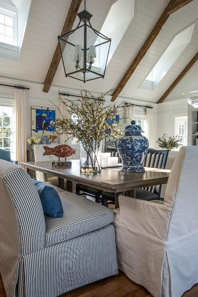 Dining Room Seating Ideas. The dining room seating (all from Ethan Allen) was given a mix-and-match approach in order to keep the space from feeling too stiff. Dining Room Furniture #DiningRoom