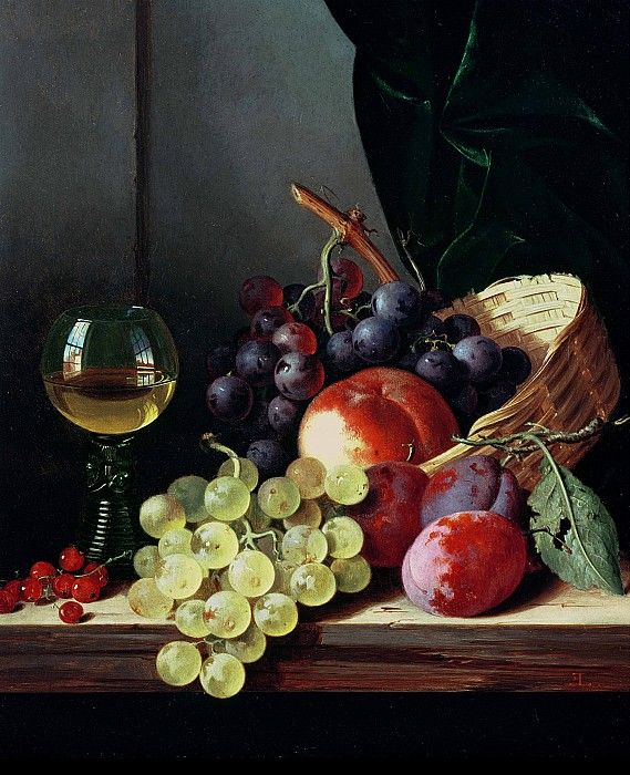 Edward Ladell (British, 1821-1886): Grapes and Plums