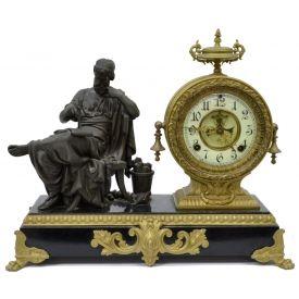 Ansonia figural gilt metal mantle clock