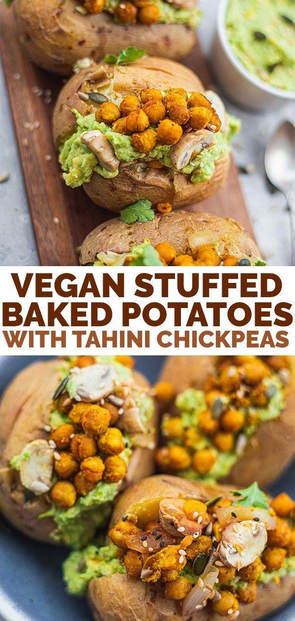 Vegan Stuffed Baked Potatoes With Tahini Chickpeas Earth Of Maria Recipe In 2020 Stuffed Baked Potatoes Vegan Dinner Recipes Vegan Lunch Recipes