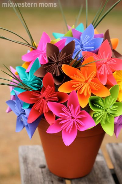 My craft project using the bold AstroBrights paper to make an origami kusudama flower bouquet