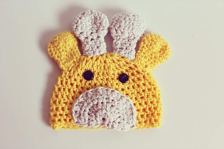 Crochet giraffe hat - handmade - newborn to 3 years