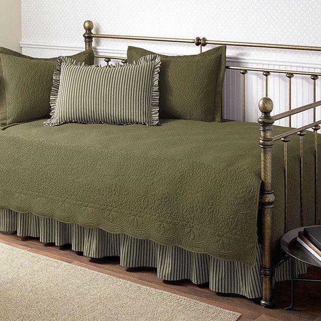 Daybed Bedding Sets Trellis Green Quilt Bed Skirt Sham Cotton Home Decor 5-piece #TrellisAloe5PieceDaybedSet
