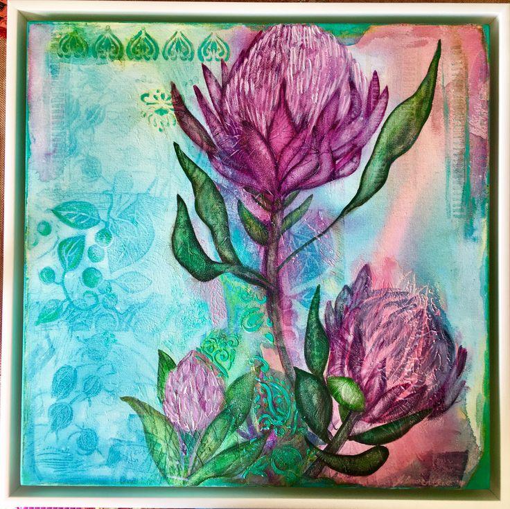 Proteas - mixed media on canvas - framed