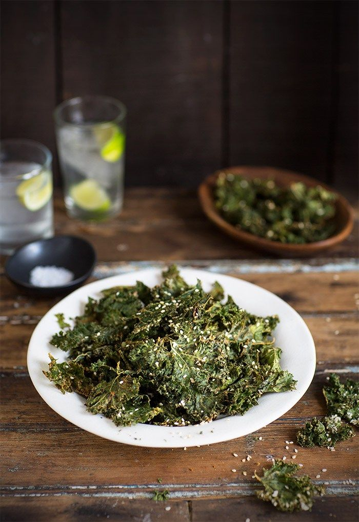 Kale chips with tahini and sesame seeds   Recipe   Kale ...