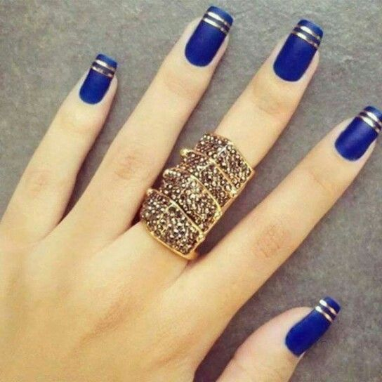 Royal Blue with Double Gold Striped Tips Nails