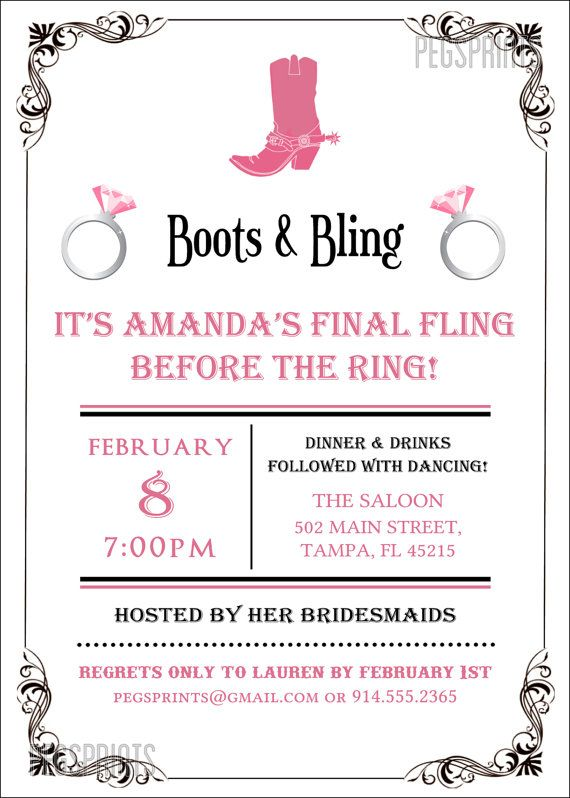 Boots and Bling Invitation Boots and Bling by PegsPrints on Etsy