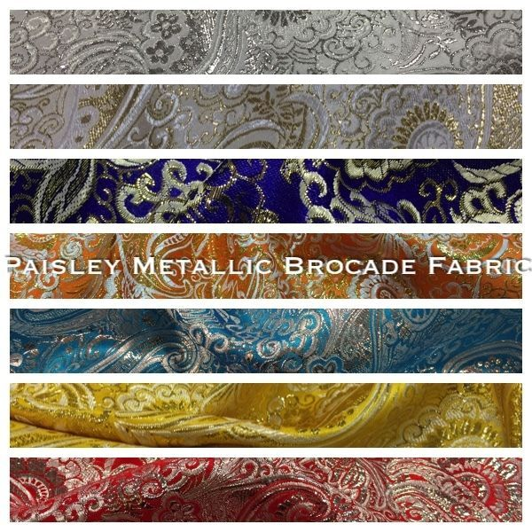 Paisley Metallic Brocade Fabric 58  wide for Jackets and waistcoats M350 Mtex