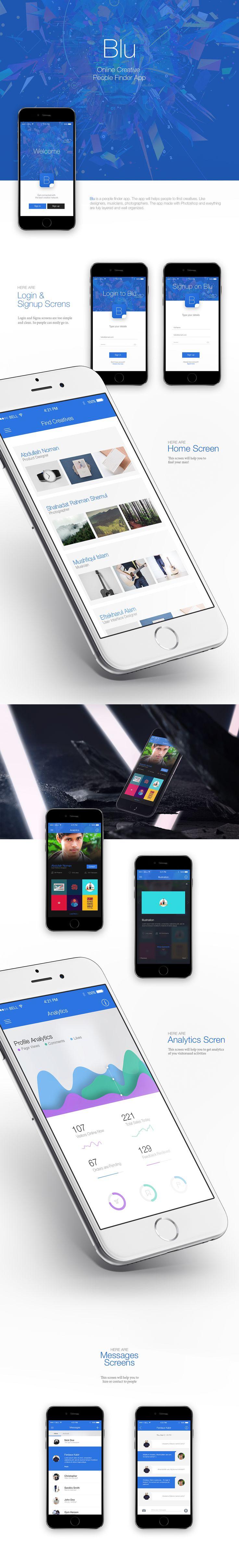 Blu - Creative People Finder on App Design Served