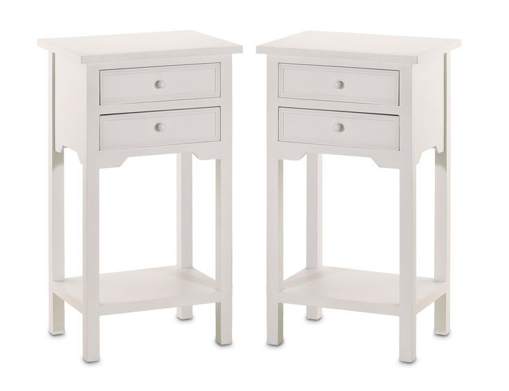 Set of 2 Wood White End Tables Nightstands