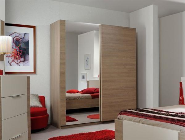 Azuria Contemporary 2 Sliding Door Wardrobe in Wood and Mirror by Sciae