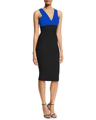 Sleeveless Two-Tone Sheath Dress, Black/Blue by Victoria Beckham at Neiman Marcus.