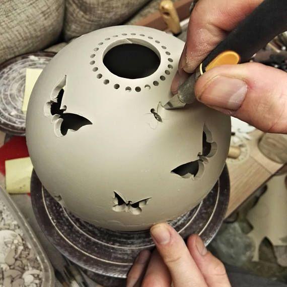 Butterfly Ceramic Candle Lantern, Tea Light Holder