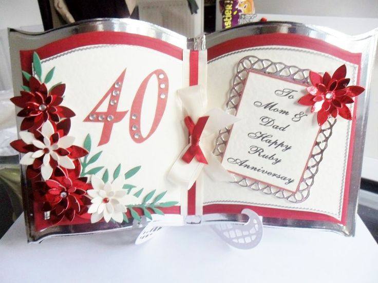 Beautiful Personalised Handmade Bookatrix Wedding Anniversary Card 25th 40th