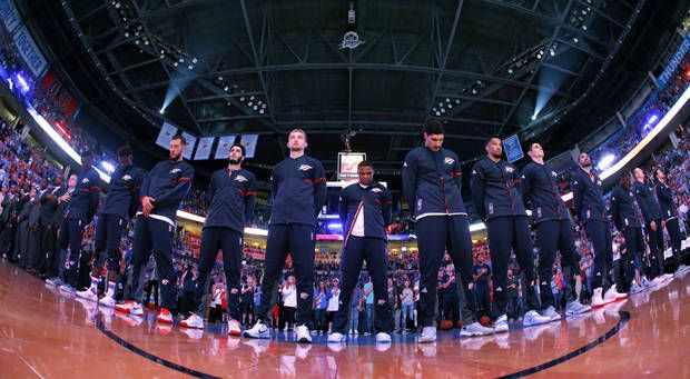 The Thunder stand during the nationa anthem before an NBA basketball game between the Oklahoma City Thunder and the Phoenix Suns at Chesapeake Energy Arena in Oklahoma City, Friday, Oct. 28, 2016. Photo by Bryan Terry, The Oklahoman
