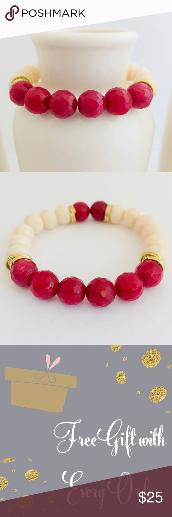 Handmade Red Agate Beaded Bracelet This unique Red Agate bracelet is all you need to complete your look for any occasion on a daily basis. It is elegant and sophisticated for the everyday classy woman.   SIZING and MEASUREMENTS:  • Agate bead size: 10mm  • SMALL: 6 in • MEDIUM: 7 in • LARGE: 8 in  • CUSTOM SIZING: If you need a different size, let me know your size upon checkout   Each bracelet is authentically handmade by me in my home craft studio. FREE GIFT WITH EVERY ORDER! Handmade…
