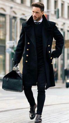 mode homme automne hiver 2017 2018 outfit impeccable en noir #homme #automne #fashion #lookmode