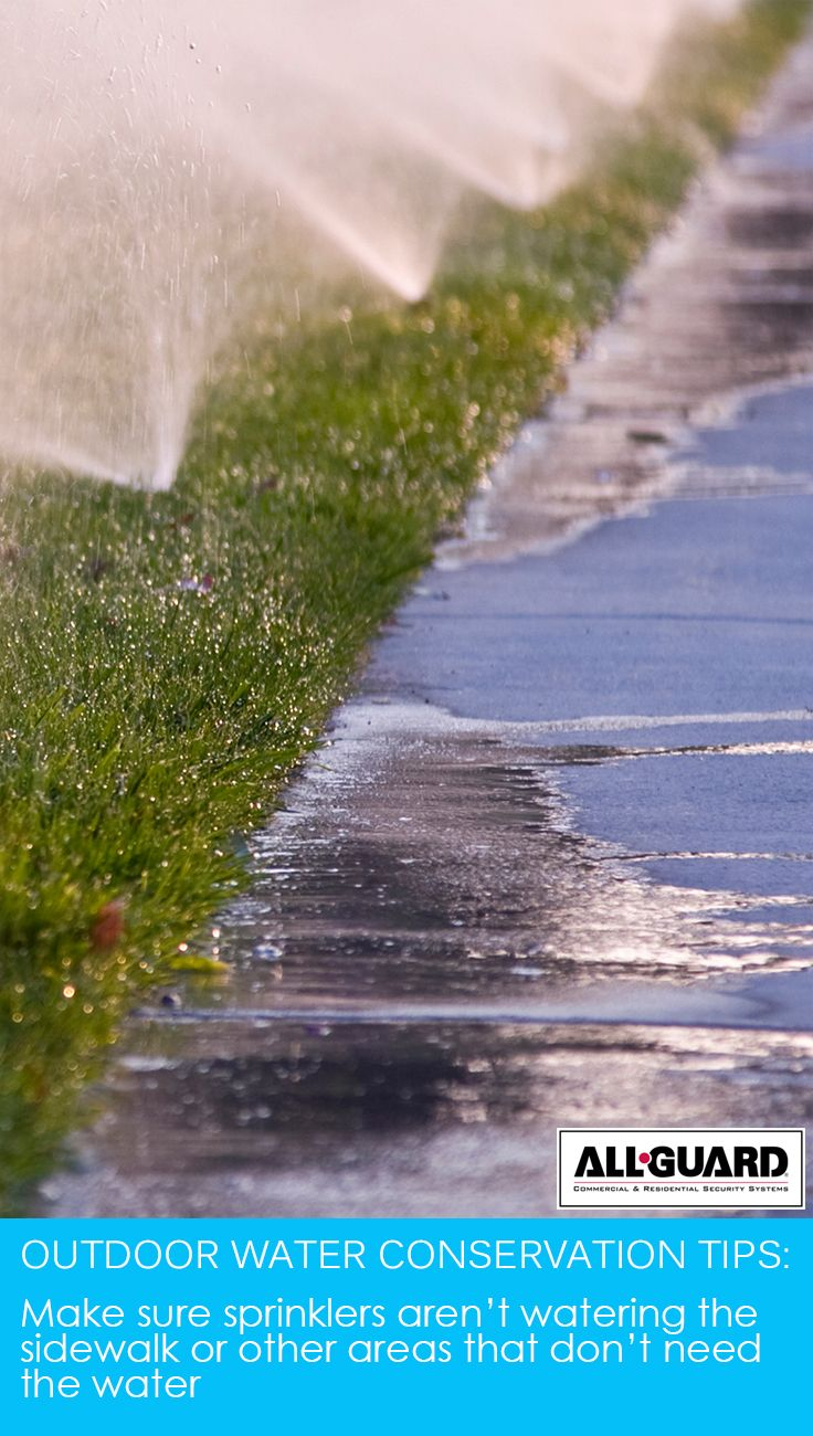 Make sure sprinklers aren't watering the sidewalk or other areas that don't need the water