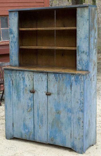blue step back cupboard