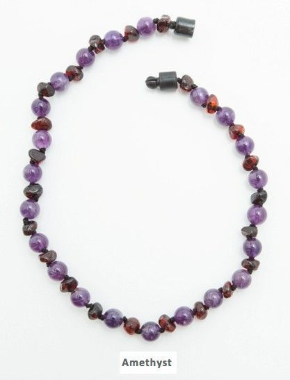 NEW Amethyst Amber necklace for baby's teething. Soothes the pain. $25 http://www.mothersboutique.com/amberteething.html