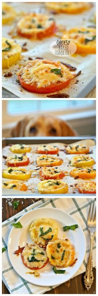 Cheesy Baked Tomatoes, SUPER EASY and delicious side dish or appetizer for any occasion!   The Cookie Rookie