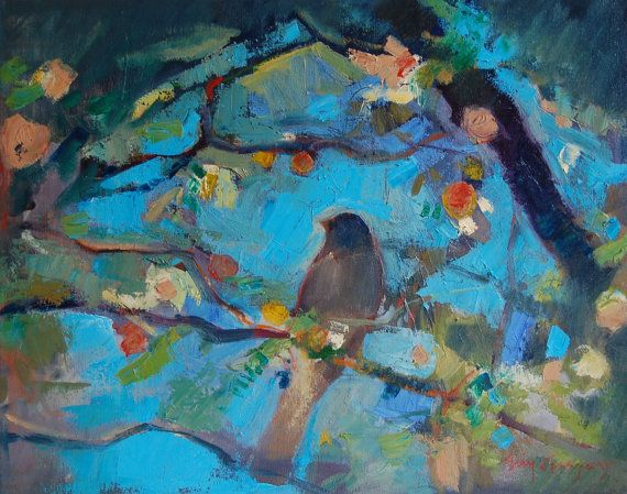 bird 16x20 oil and wax on canvas by eringregory on Etsy