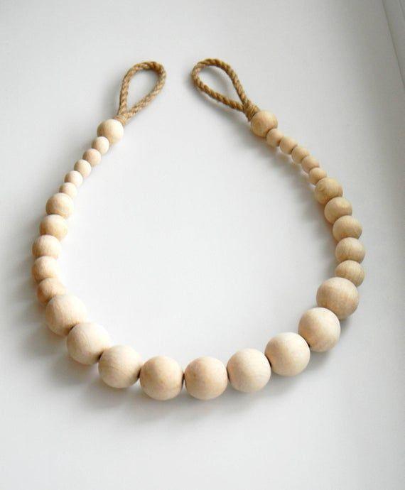 Wooden Beads Curtain Tie Backs Jute Rope Curtain Tiebacks