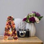 Interior Decorative Light Fixture – Floral Themed – The White Bulb Handmade Flower Letter Light