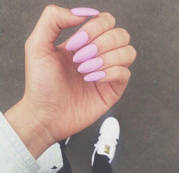 Pastel matte beautiful pink on almond nails   Nails ...