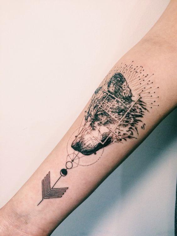 Wolf Geometric Arrow Tattoo