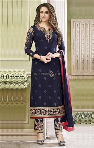 1cfe3b79ed #Shop This Elaborated Navy Blue #Embroidered #Georgette #Punjabi #Suit With  Lace