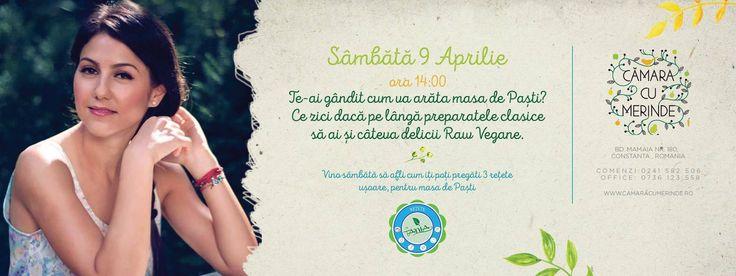 Vino alaturi de Tania Bordianu Sambata 9 Aprilie la Camara cu Merinde si afla cum sa faci delicii vegane de Paste!