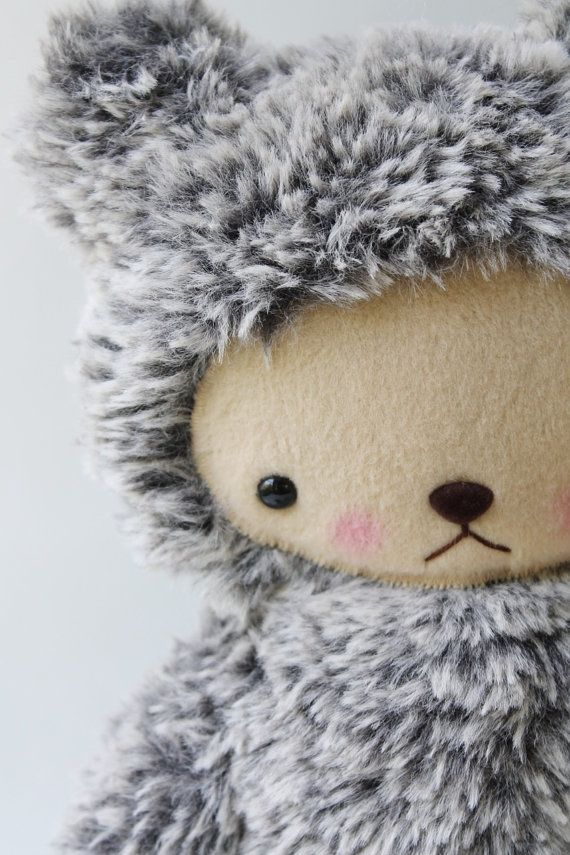 Kawaii Teddy Bear Plushie Speckled Gray and White by bijoukitty