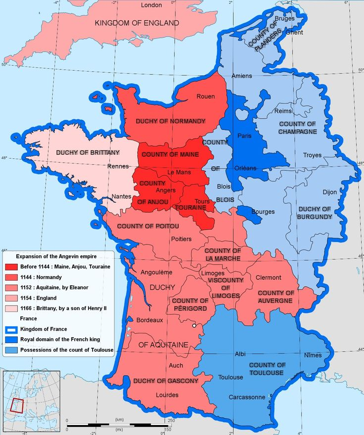 The Angevin Empire in 1154.