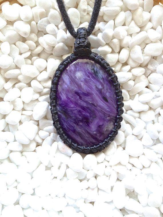 Swirling Purple Charoite pendant Charoite macrame by KnotRocks