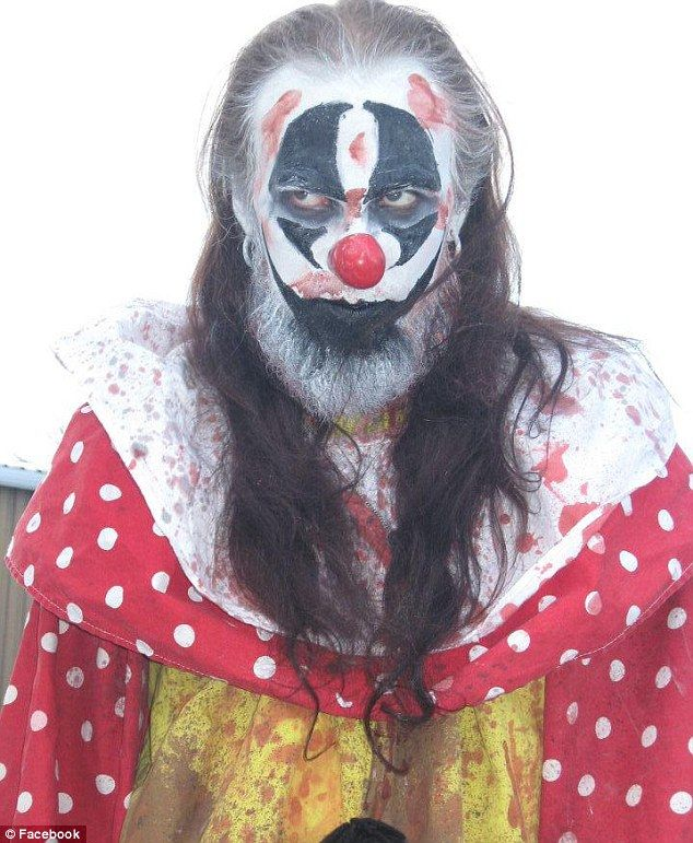 n Evanick portrays himself as a maniacal clown on his Facebook page, which says he¿s a drummer in the band The Core of Your Nightmares