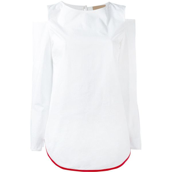 Erika Cavallini cut-out shoulders blouse (26,100 INR) ❤ liked on Polyvore featuring tops, blouses, white, cut-out shoulder tops, open shoulder blouse, cut shoulder tops, cut out shoulder top and cold shoulder tops