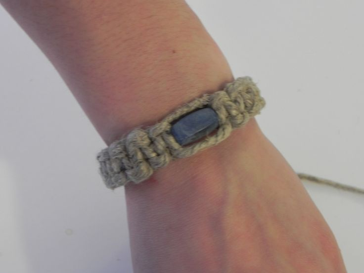 Thick Hemp Bracelet with Blue Bead by TreasuresFromTheWood on Etsy