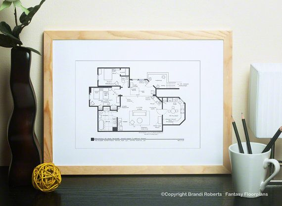 Three's Company TV Show Blackline Art Print - Floor Plan for Apartment of  Jack Tripper, Janet Wood & Chrissy Snow Gift for him Gift for her