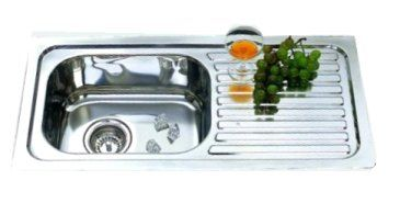 Narrow 1 bowl & 1 drainer kitchen sink, LH or RH bowl, 765x365x170mm for narrow kitchen benchtop depth from Bathrooms and Kitchens Builders Express Underwood, website www.bathroomsnkitchens.com.au