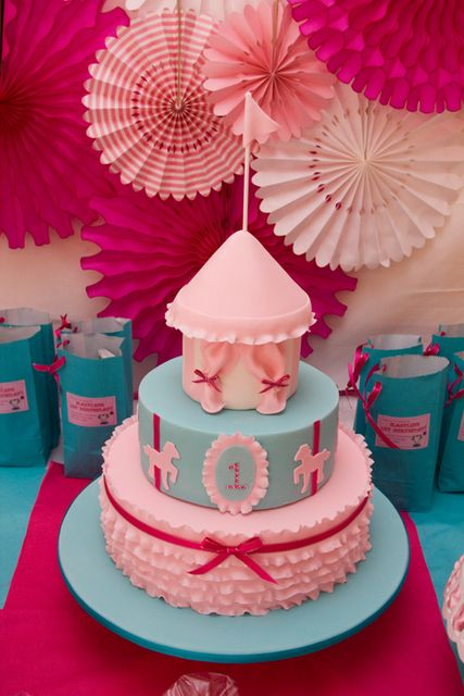 """Cute (Storybook) Circus Birthday Cake!  Photo 2 of 12: carnival party / Birthday """"Kaitlin's Pretty in Pink 1st Birthday"""" 