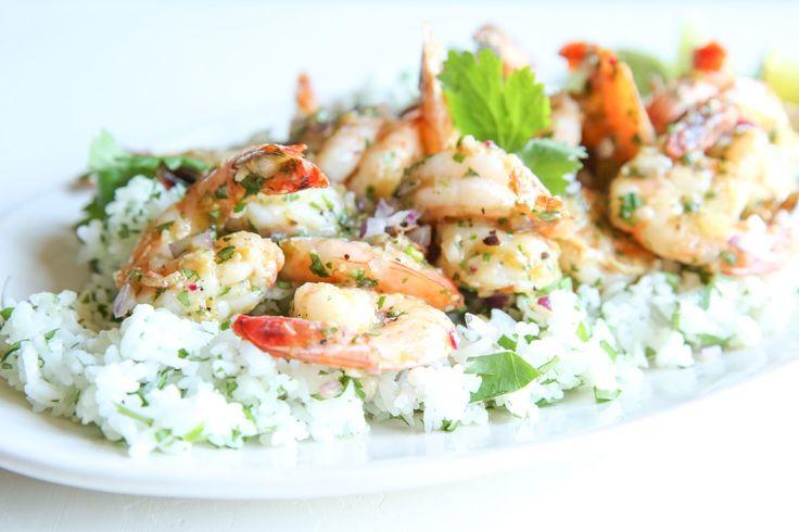 Salsa Verde Shrimp with Cilantro Rice