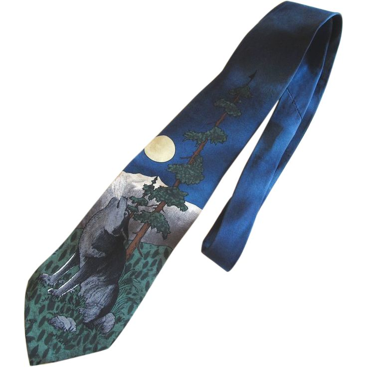 World Wildlife Federation Wolf Silk Necktie - World Wildlife Federation Wolf Silk Necktie, offered by 2Hearts Jewelry and Accessories on Ruby Lane.