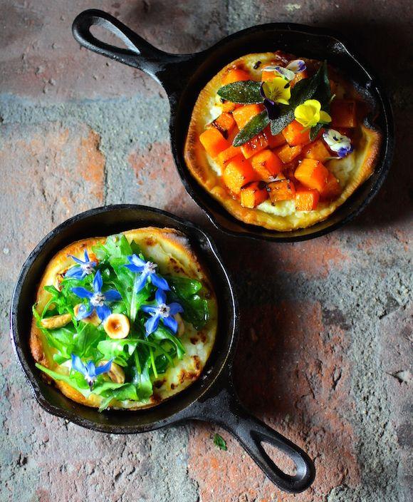 Mini Pizzas in #CastIronSkillets with squash/sage or arugula/hazelnut ...