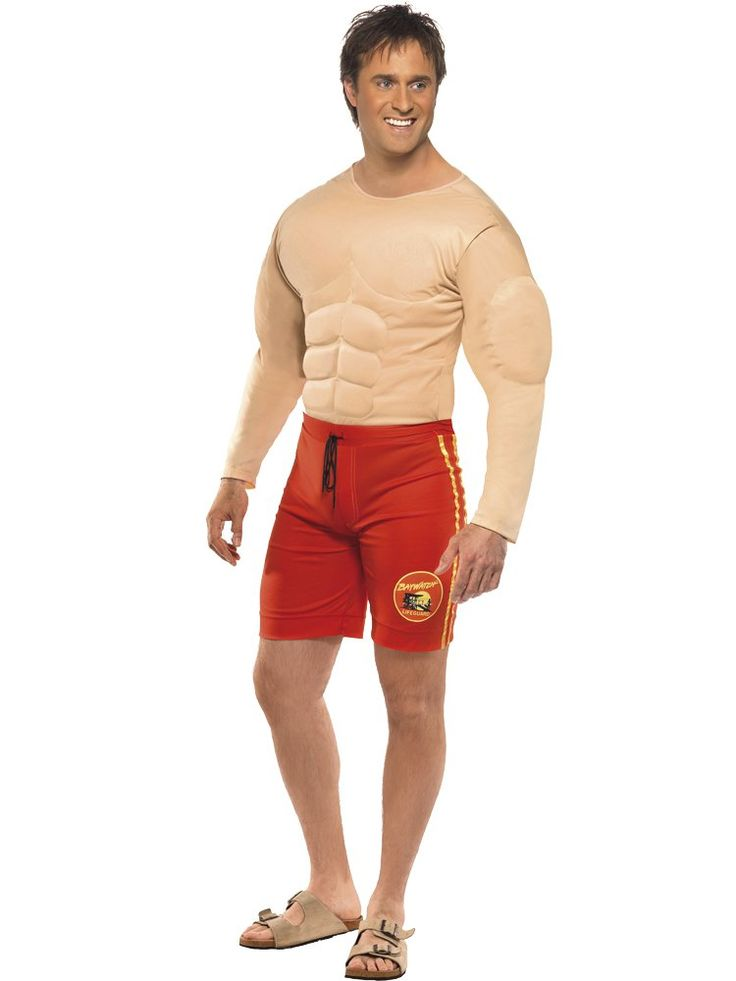 MENS BEACH LIFEGUARD FANCY DRESS COSTUME MUSCLE CHEST 80S 90S TV FILM CHARACTER