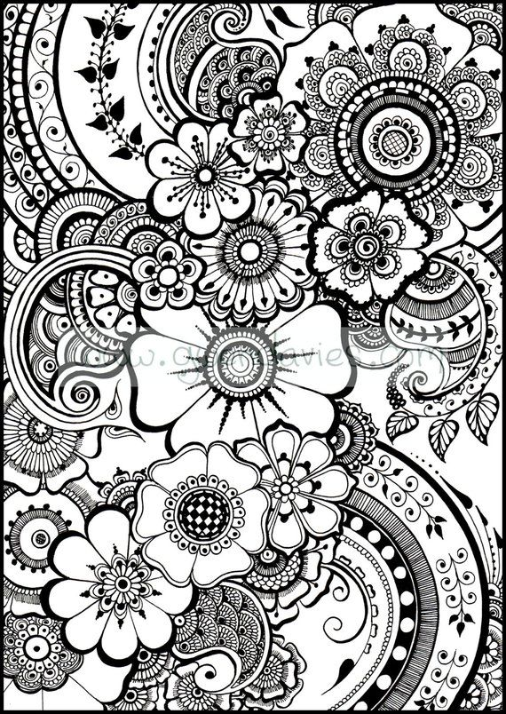 Beautiful Henna Flowers And Paisleys Colouring In Sheet Instant